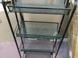 4 Shelf black wire rack Snap together  no tools needed  17  lx38 Hx7  deep