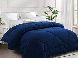 All Season Bed Comforter Best Soft Down Alternative Quilted Comforter with Corner Ties   Winter Warm   Machine Washable  Navy Blue  KING CAl KING