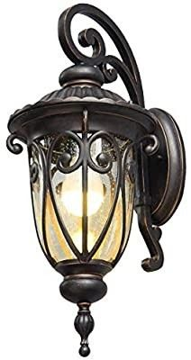 Goalplus Outdoor Porch light with Wall Mount Antique Bronze Wall lantern One light E26 Exterior Wall Sconce with Clear Seeded Glass Shade  18  High  IP44 Waterproof  lM0519 DNS