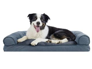 FurHaven Pet Dog Bed Faux Fleece   Chenille Soft Woven Pillow Sofa Style Couch Pet Bed for Dogs   Cats  Orion Blue  large