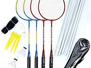 Airsnigi Badminton Set  Portable Outdoor Badminton Combo Set Badminton Net System  Fun lawn or Beach Game Sets for The Whole Family
