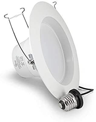 QPlUS 5 6 Inch lED Recessed Downlight Ceiling Fixture  Can light  Baffle Trim  Dimmable  14W 60W
