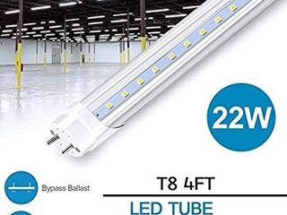 4FT light Tubes  Dual End Powered  Ballast Bypass  22 Watts  2400 lumens  5000K Daylight  Clear Cover  F48T8 Fluorescent Replacement 2 Pack