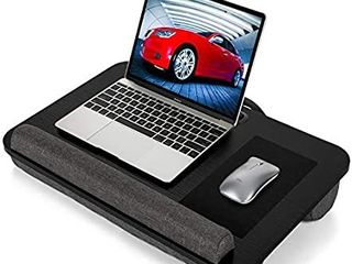 lap Desk   Fits Up to 17 Inch laptop lap Desk with Dual Cushion  Wrist Rest   Built in Mouse Pad  Portable laptop Stand for Sofa   Bed  Multifunctional Slot for Tablet  Pen   Phone