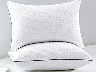 GOHOME Bed Pillows for Sleeping 2 Pack  Soft Standard Pillows with luxury Velvet Fabric  Full Size Pillows with Down Alternative Fiber Fill for Side and Back Sleepers  20 x26