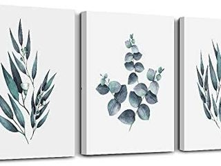 White background Green plant leaf Wall Decorations for living Room wall art for kitchen room Wall decor Bathroom Decorations 3 Pieces Framed Canvas