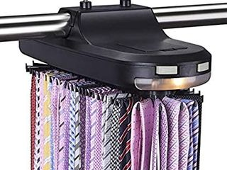 Aniva Tie Rack Motorized Revolving a Organizer  Holder  Hanger for Menas Belts   Ties a Stores   Displays 64 Ties with lED lights a Closet Rotating Organizer   Battery Operated