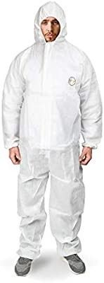 Disposable Coveralls with Hood Protective Suit  Microporous  White Elastic Wrist  25  Amazon s choice for Covid suit