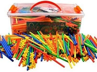 Playlearn lARGE 800 Piece Straws Builders Construction Building Toy   Giant Pack with Special Connectors