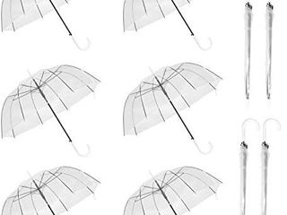 WASING 10 Pack 46 Inch Clear Bubble Umbrella large
