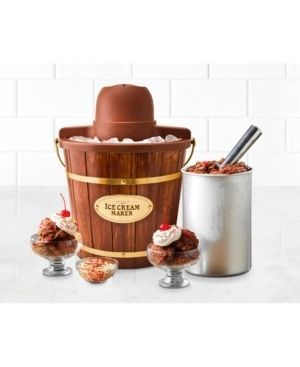 Nostalgia ICMW400 4 Quart Electric Bucket Ice Cream Maker With Easy Carry Handle  Made From Real Wood