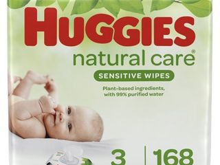Huggies Natural Care Sensitive Baby Wipes  Unscented  3 Flip Top Packs  168 Wipes Total