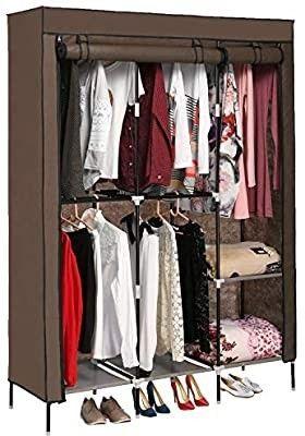 Portable Clothes Closet Non woven Fabric Wardrobe Storage Organizer Shelves with Double Rod Shelve