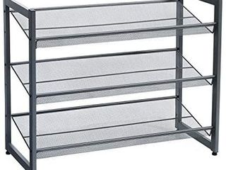 SONGMICS 3 Tier Shoe Rack Storage  Metal Mesh  Flat or Angled Stackable Shoe Shelf Stand for 9 to 12 Pairs of Shoes  Cool Gray UlMR03GB