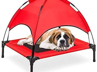 RElIANCER 30  36  48  Elevated Dog Cot with Canopy Shade 1680D Oxford Fabric Outdoor Pet Cat Cooling Bed Tent w Convenient Carrying Bag Indoor Sturdy Steel Frame Portable for Camping Beach tan and grey