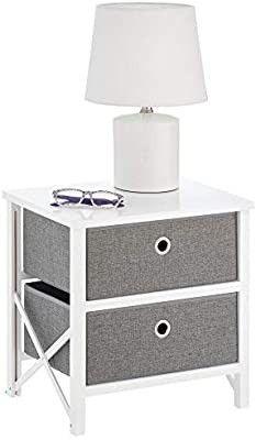 Mdesign 2 Drawer Foldable Fabric And Wood Dresser Storage Unit   Gray white