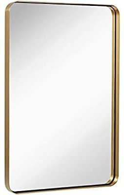 Contemporary Brushed Metal Wall Mirror   Glass Panel Gold Framed Rounded Corner Deep Set Design   Mirrored Rectangle Hangs Horizontal or Vertical  22x30 inches  silver