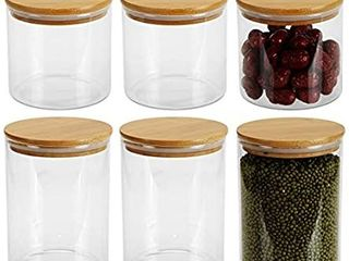 lawei Set of 6 Glass Food Jars with Bamboo lids   36oz 55oz