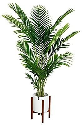 Fopamtri Artificial Areca Palm Plant 5 Feet Fake Palm Tree with 17 Trunks Faux Tree for Indoor Outdoor Modern Decoration Feaux Dypsis lutescens Plants in Pot for Home Office Perfect Housewarming Gift