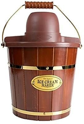 Nostalgia Electric Bucket Ice Cream Maker With Easy Carry Handle  Makes 4 Quarts in Minutes  Frozen Yogurt  Gelato