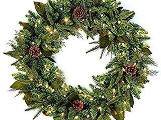 Bethlehem lighting GKI Pre lit PE PVC Christmas Wreath with 100 Clear Mini lights  30  Green River Spruce