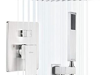 ESNBIA Shower System  Brushed Nickel Shower Faucet Set with Valve and 12  Rain Shower Head Systems Wall Mounted Shower Combo Set