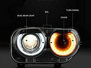 MOSTPlUS lED DRl Projector Headlight Assembly For Dodge Challenger SE R T 2015 2018 Passanger Side Only