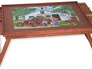 Bits And Pieces   Standard 1000 Pc Puzzle Wooden Plateau lounger With Cover