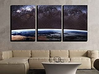 Earth from Outer Space   Canvas Art Wall Art   24 x36 x3 Panels