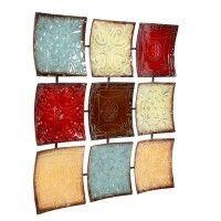 Hosley s 24 75  Square Multi Colored Iron Wall DAccor 24 75  X 1 5  X 24 75