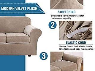 H VERSAIlTEX Modern Velvet Plush 4 Piece High Stretch Sofa Slipcover Strap Sofa Cover