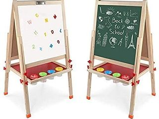 Arkmiido Kids Easel Double Sided Whiteboard   Chalkboard Standing Easel