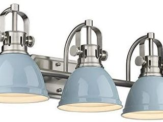 Emliviar 3 light Bathroom Vanity light Fixtures  Blue and Brushed Nicke
