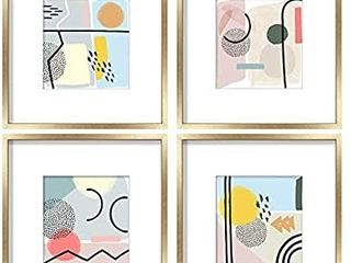 ArtbyHannah 12 x 12 Inch 4 Pack Gold Picture Frame Collage Set For Wall Art Decor