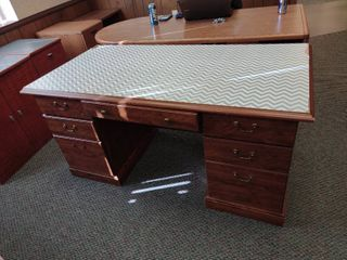 Wooden Desk with Chevron Design  Approx  59in l x 30in W x 29in H