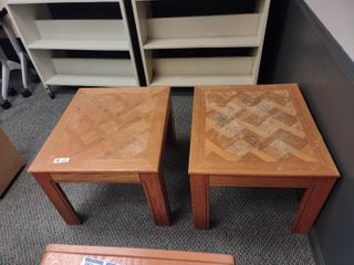 Pair of Wooden Side Tables   Approx  23  l x 26  W x 19  H