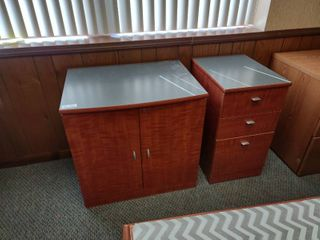 Wooden Cabinet with Matching 3 Drawer File Cabinet