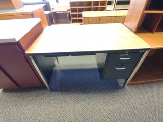 Metal Desk with Wood Top  Approx  48  l x 30  W x 29  H
