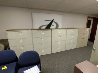 lot of 5 Hon lateral Filing Cabinets  Each Approx  36  l x 19  W x 53  H