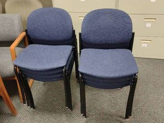 lot of 8 Blue Waiting Room Chairs