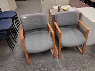 lot of 2 Grey Waiting Room Chairs