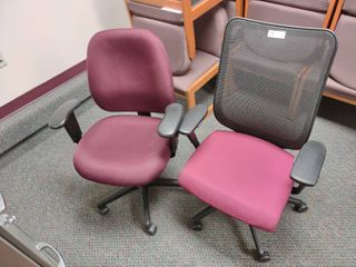 lot of 2 Maroon Rolling Office Chairs