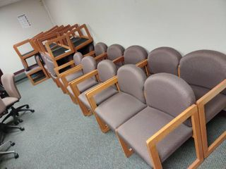 lot of 24 Waiting Room Chairs with 2 Matching Dual Seat Waiting Room Chairs