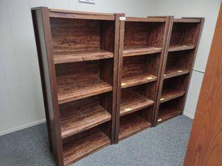 lot of 3 Wooden Bookshelves  Each Approx  28  l x 13  W x 60  H