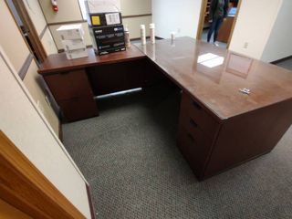 large Wooden l Shaped Desk with Glass Top  contents NOT included  Approx  81  x 72  x 30  H