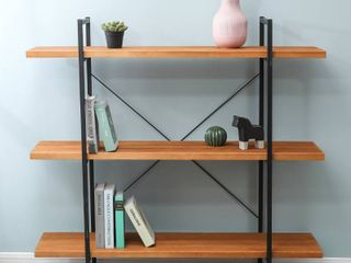 Brown Wood and Metal 48 inch 3 tier Open shelf Etagere Bookcase  Retail 225 99