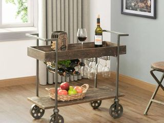 FirsTime   Co  Factory Row Industrial Farmhouse Bar Cart  American Crafted  Aged Black  Metal  30 x 15 x 32 5 in  Retail 158 87