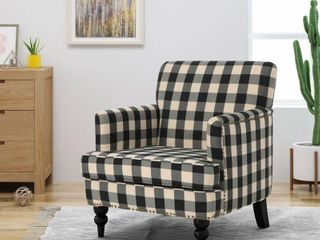 Harrison Tufted Fabric Club Chair in Black Checkerboard by Christopher Knight Home  As Is Item  Retail 232 85