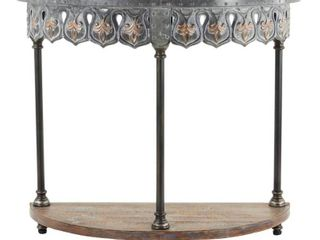 Small Black Silver and Gold Metal Half Circle Console Table w Fleur De lis Designs and Wood Shelf 36  x 32    36 x 15 x 32  Retail 189 99