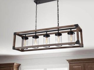 Daniela 5 light Antique Black Metal and Natural Wood Glass Chandelier  Retail 279 99